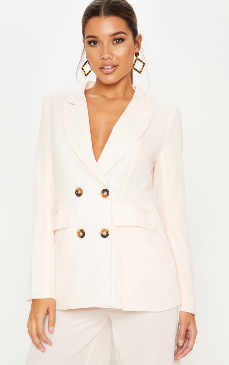 Cream Oversized Button Detail Blazer