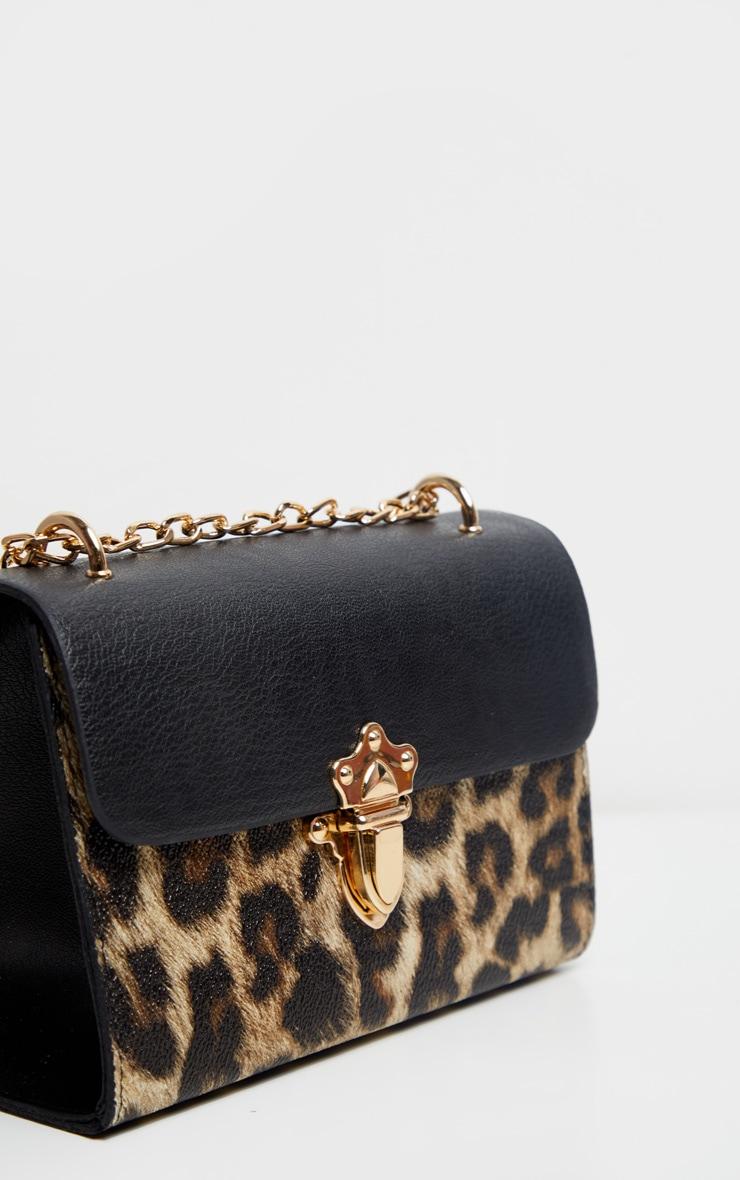 Brown Leopard Contrast Cross Body Bag 3