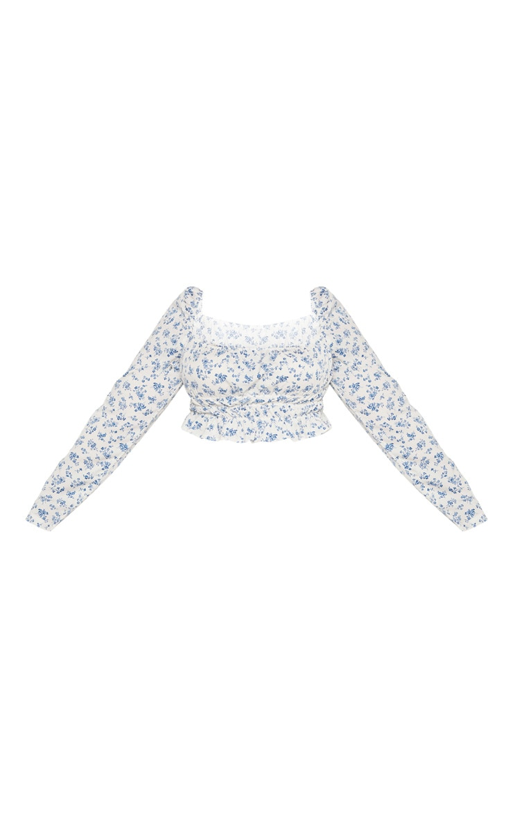 Plus White Ditsy Floral Ruched Bardot Crop Top  3