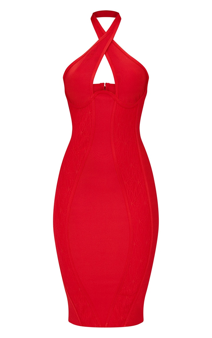 Red Lace Detail Cross Front Bandage Midi Dress 3