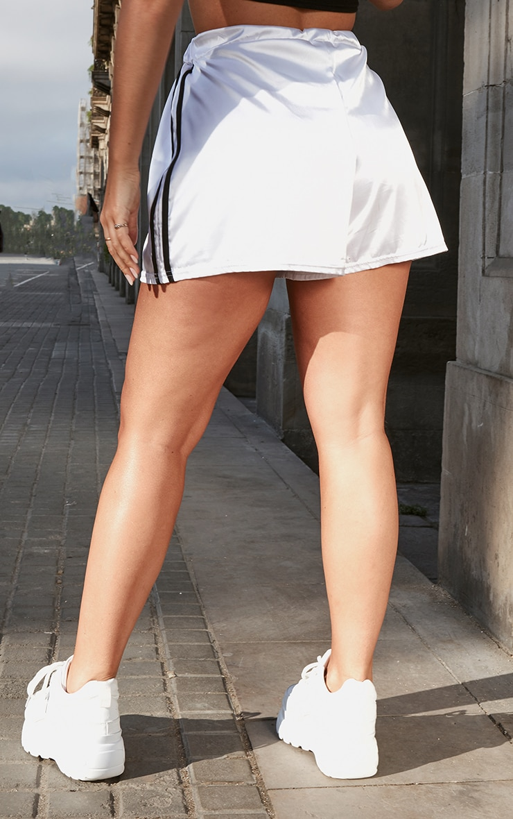White Satin Side Stripe Runner Shorts 4