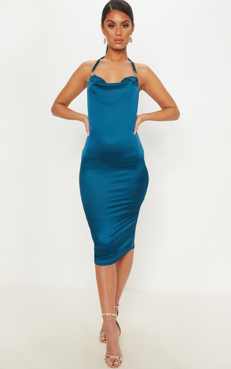 Teal Lion Buckle Cowl Neck Satin Midi Dress