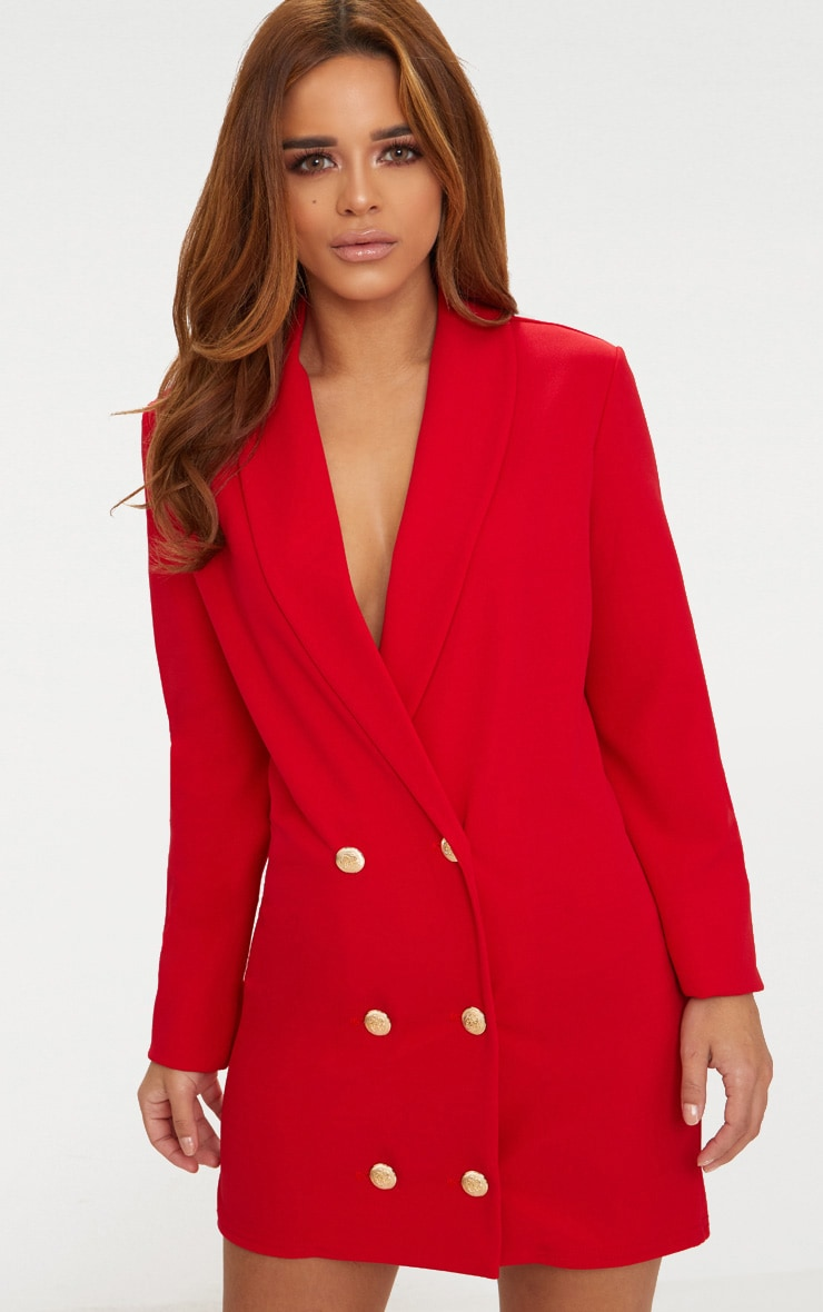 Petite Red Gold Button Oversized Blazer Dress 1