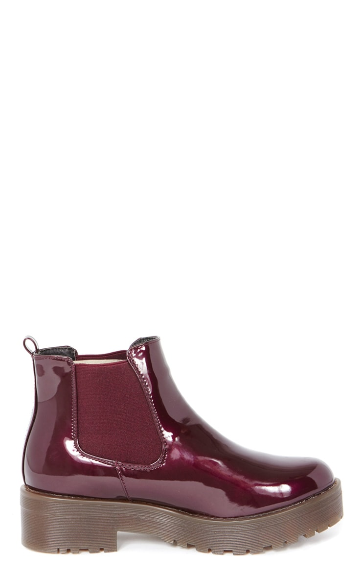 Sabine Plum Patent Cleated Sole Chelsea Boot  3
