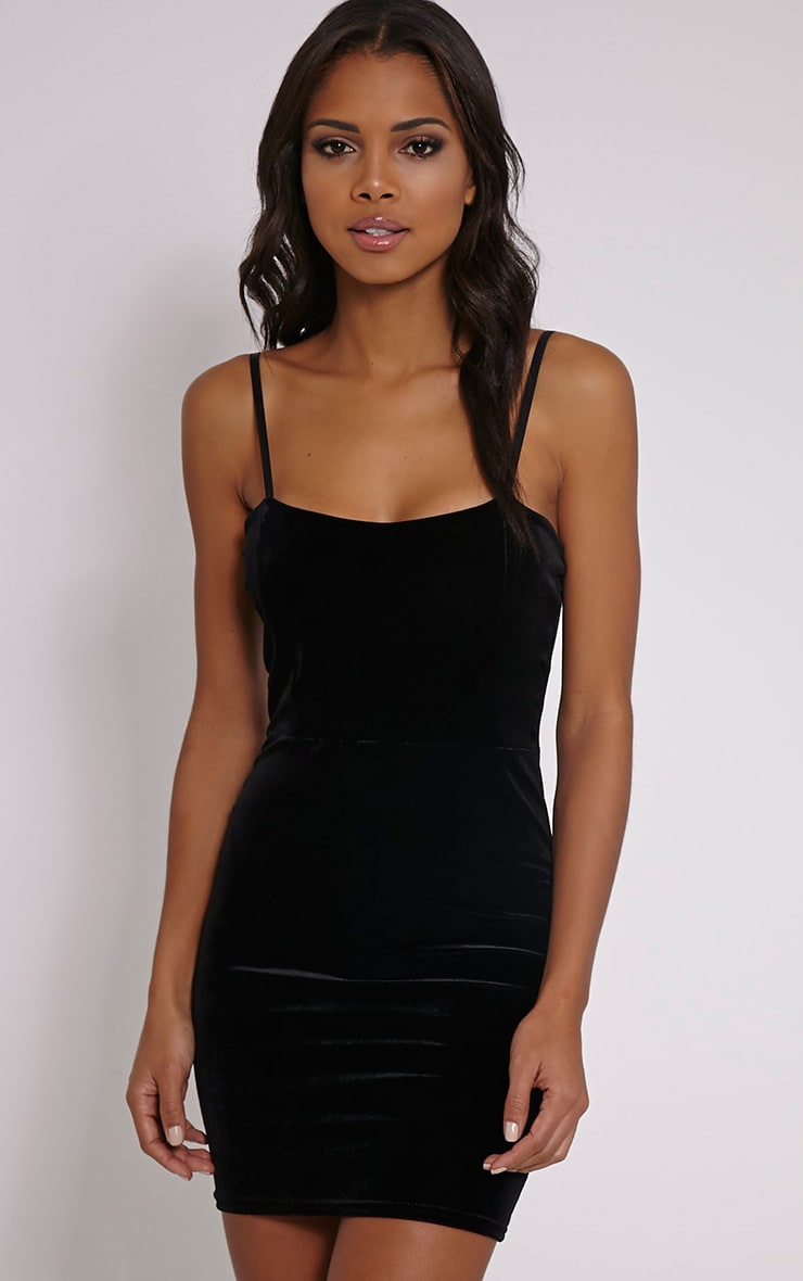Melody Black Velvet Mini Dress 1