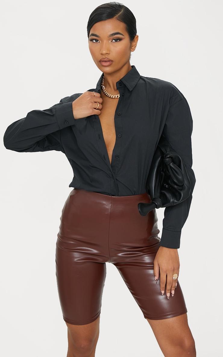 Chocolate Faux Leather Bike Shorts 4