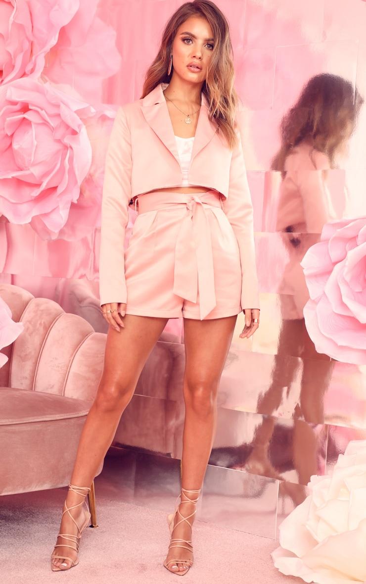 Pale Pink Tie Waist Satin Shorts 5