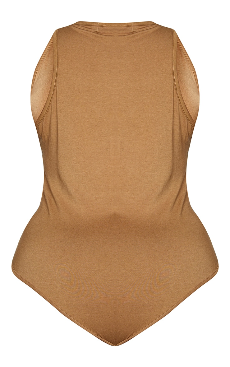Plus Basic 2 Pack Camel & Stone Racer Back Bodysuit 6