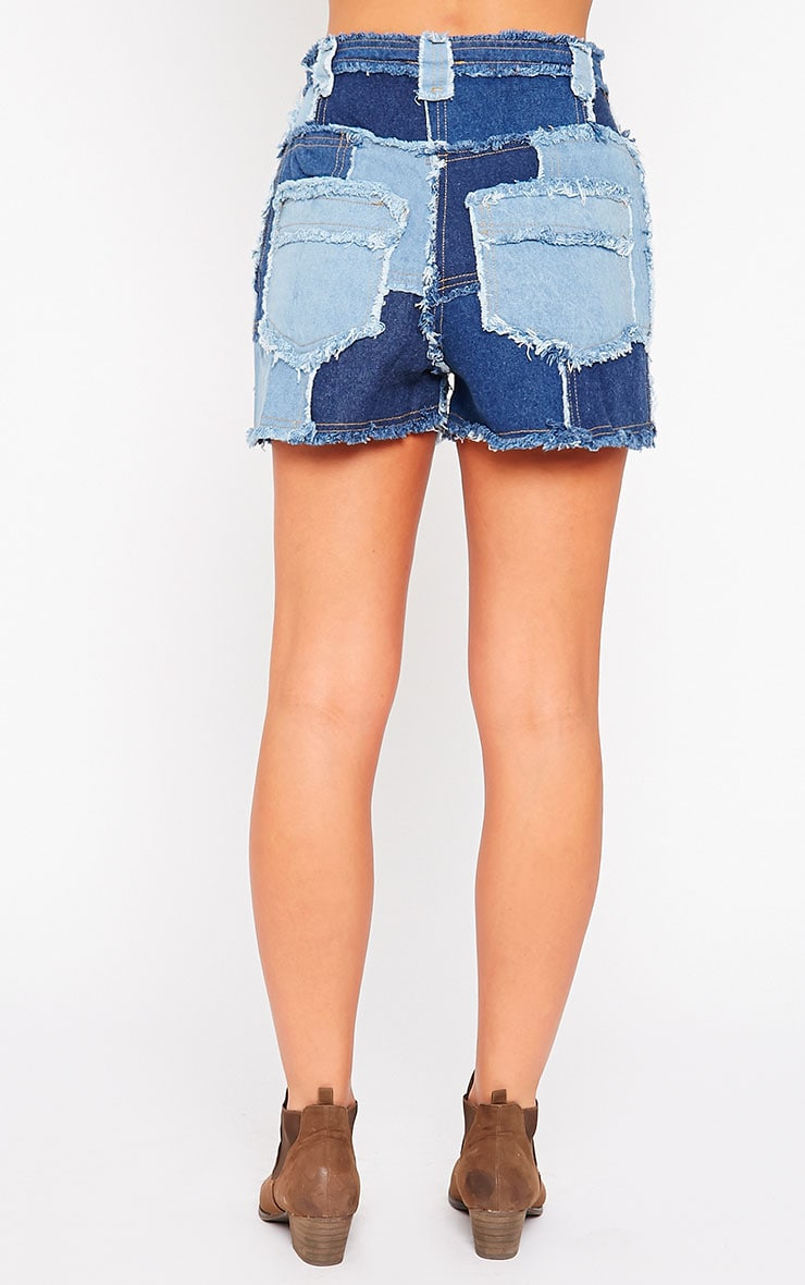 Maliya Patchwork Denim Shorts 4