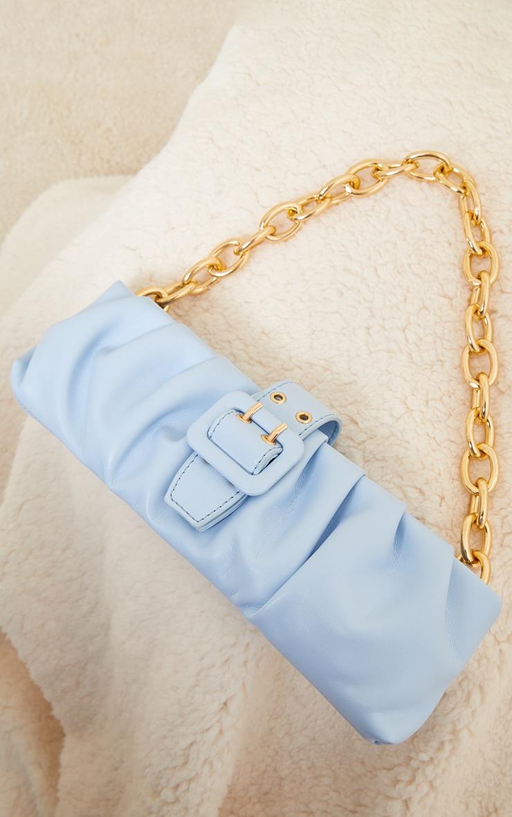Baby Blue Baguette Gold Chunky Chain Shoulder Bag 2