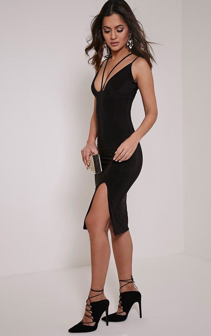 Tana Black Double Strap Slinky Midi Dress 4