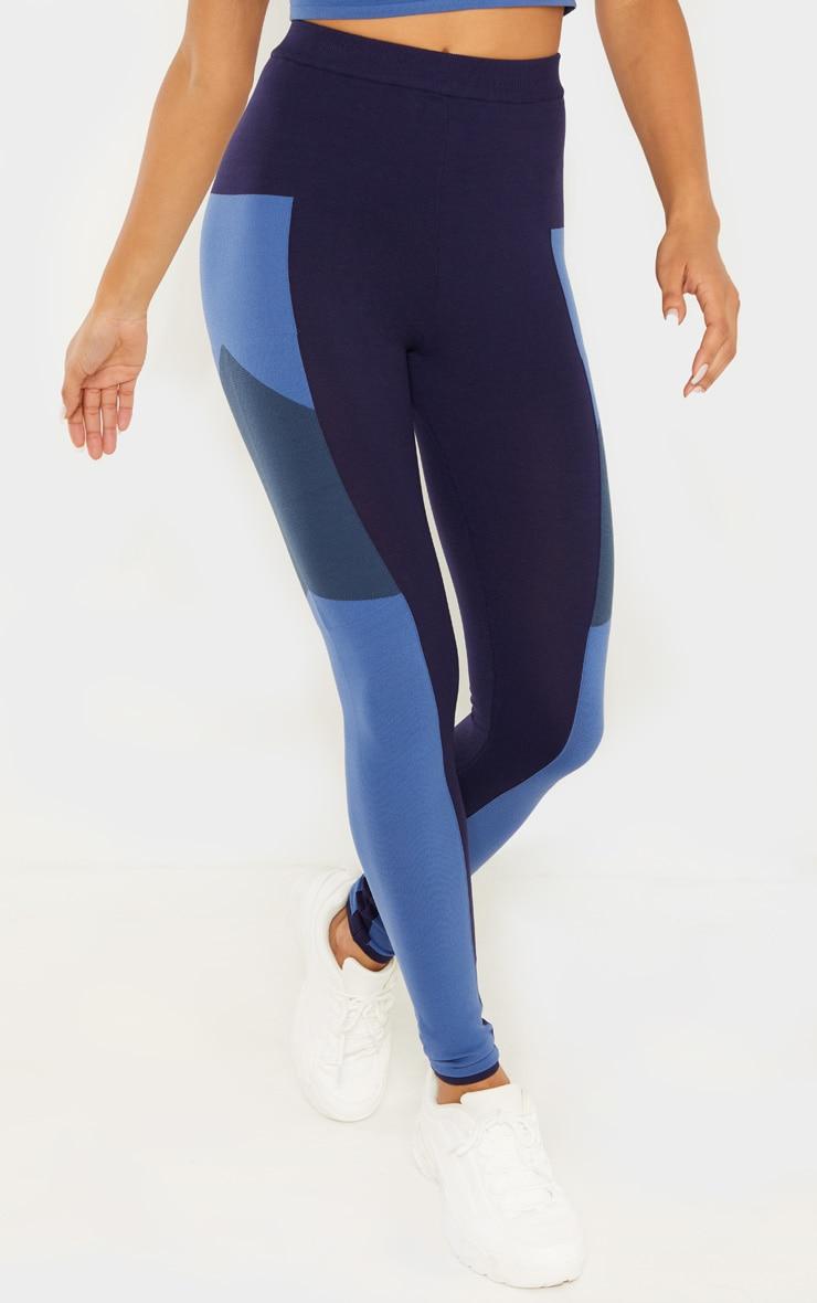 Blue Seamless Knit Gym Legging 2