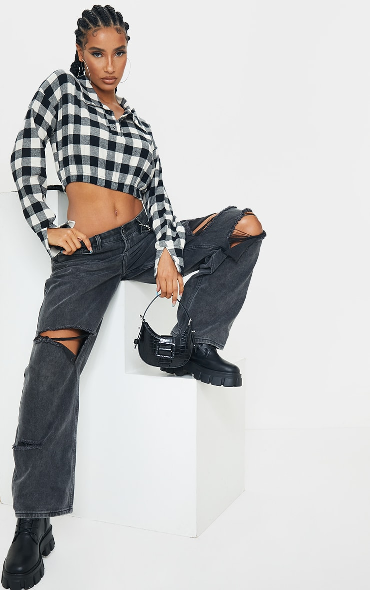 Black Flannel Check Button Up Elasticated Crop Shirt 3