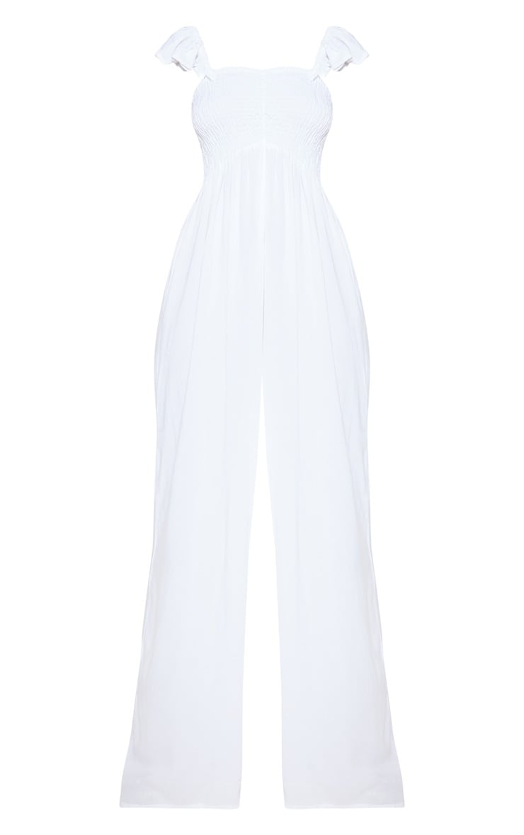White Frill Strap Beach Jumpsuit 6