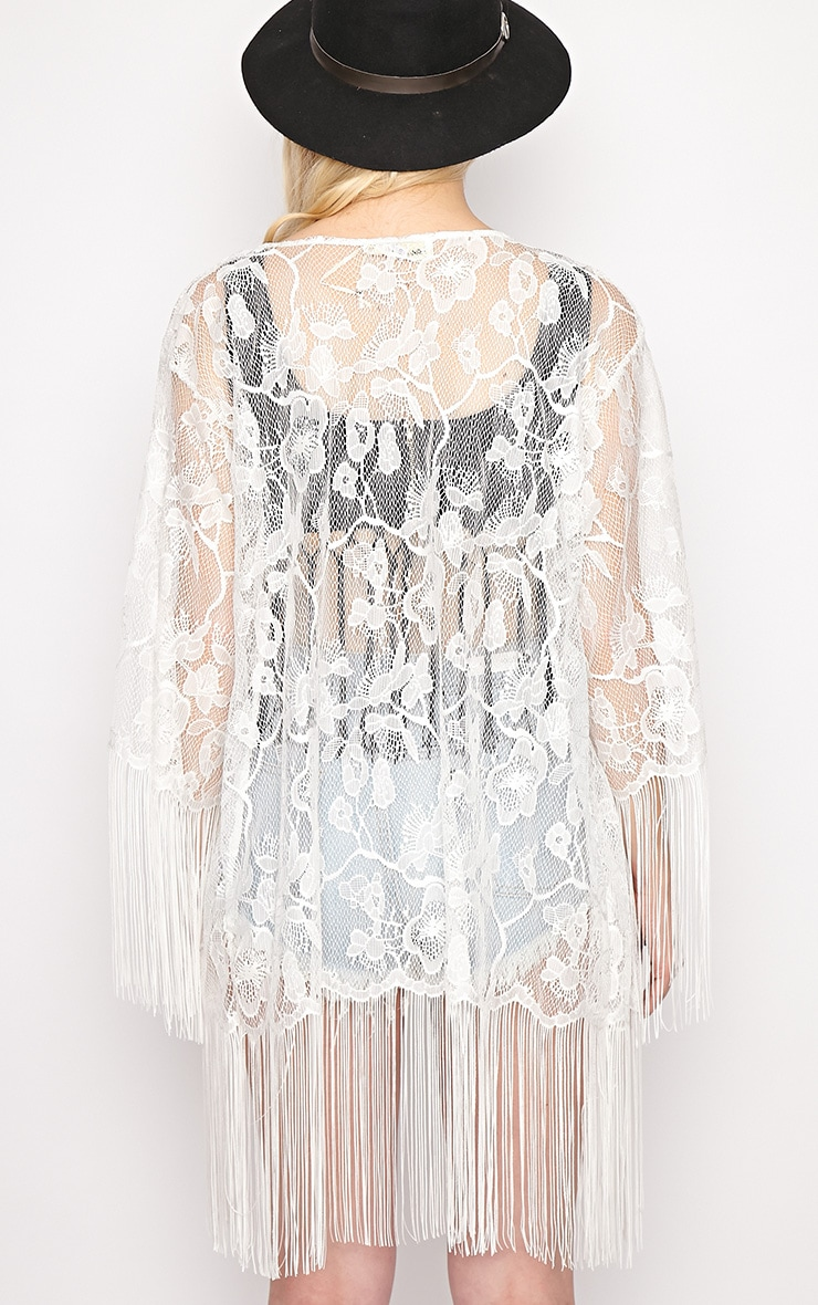 Aimee White Lace Tassel Kimono 2