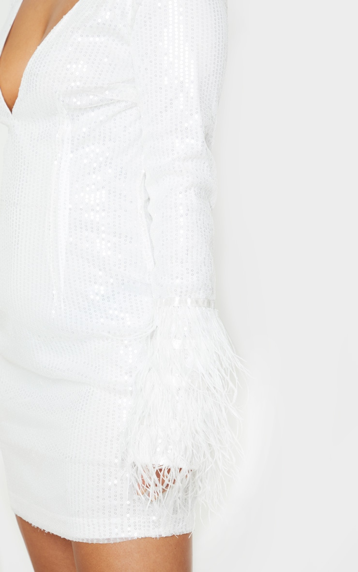 Petite White Plunge Sequin Feather Sleeve Mini Dress 5