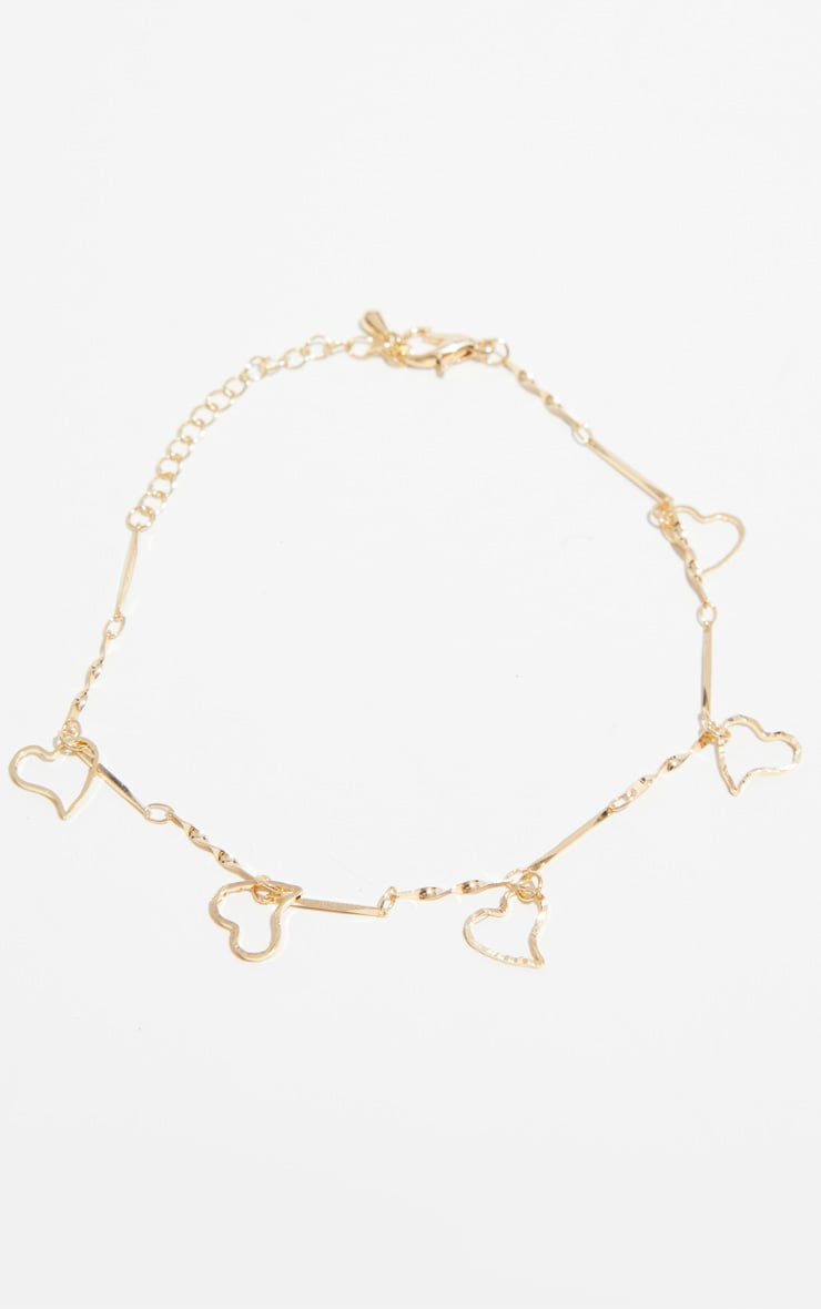 Gold Heart Delicate Chain Anklet 4