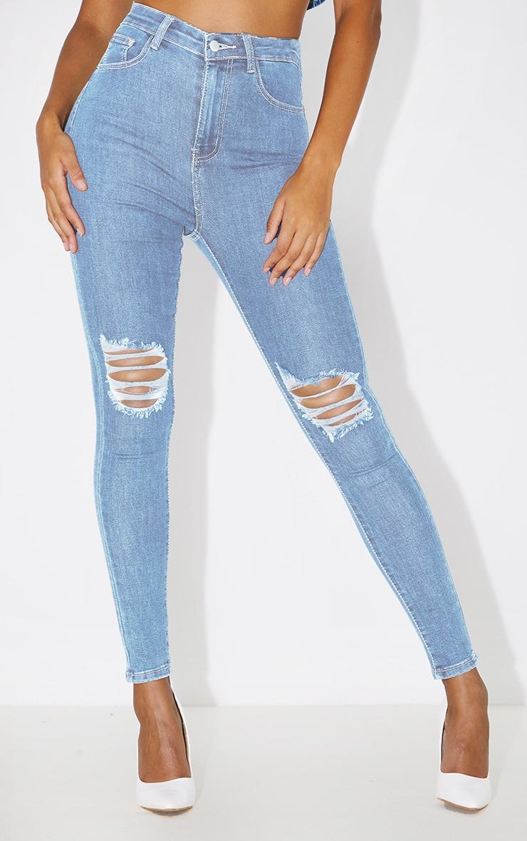 PRETTYLITTLETHING Vintage Wash Knee Rip 5 Pocket Skinny Jean 2