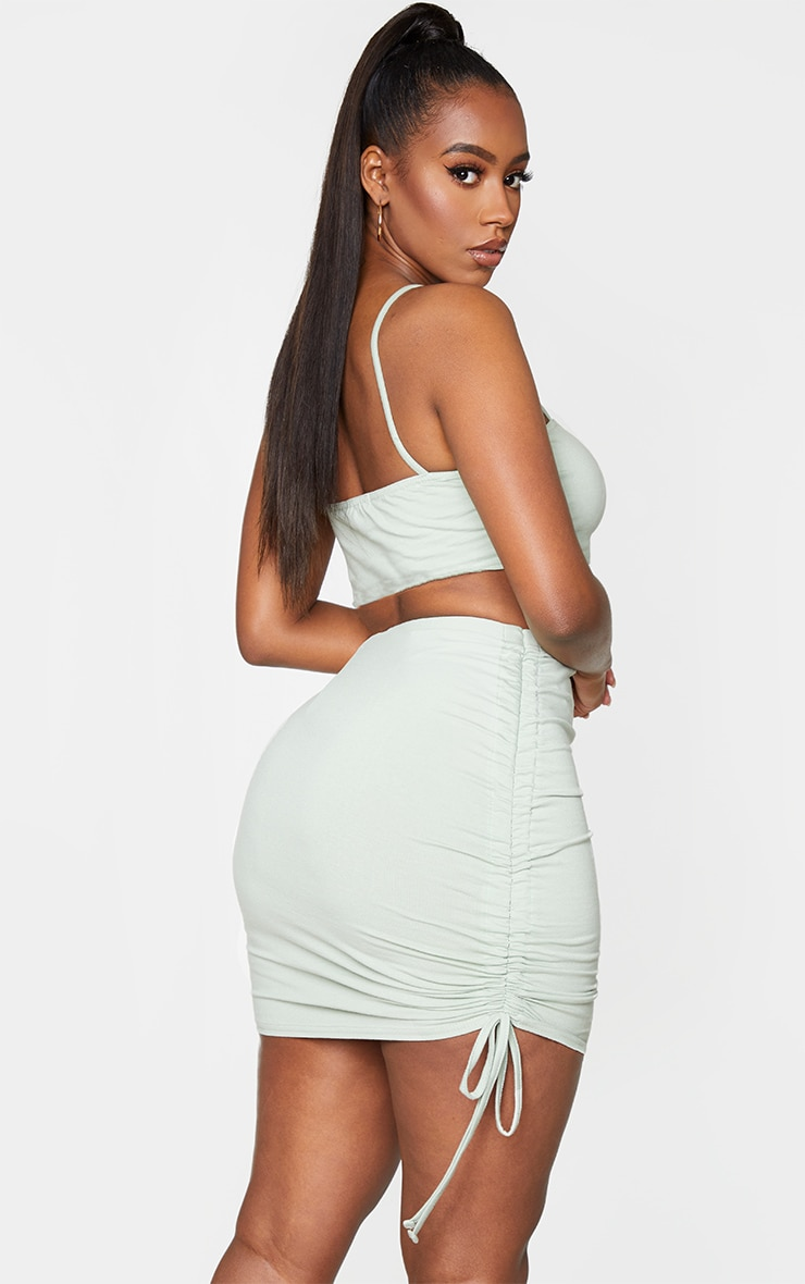 Shape Dark Mint Cotton Strappy Ruched Side Bodycon Dress 2