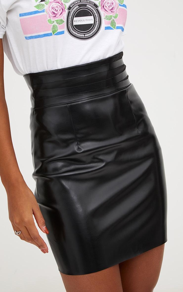 Black Faux Leather Strappy Waist Mini Skirt 6