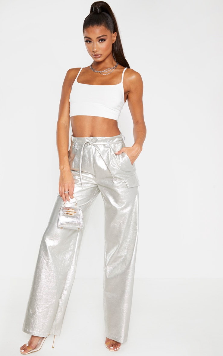 Silver Cracked Faux Leather Pocket Detail Wide Leg Trouser 1