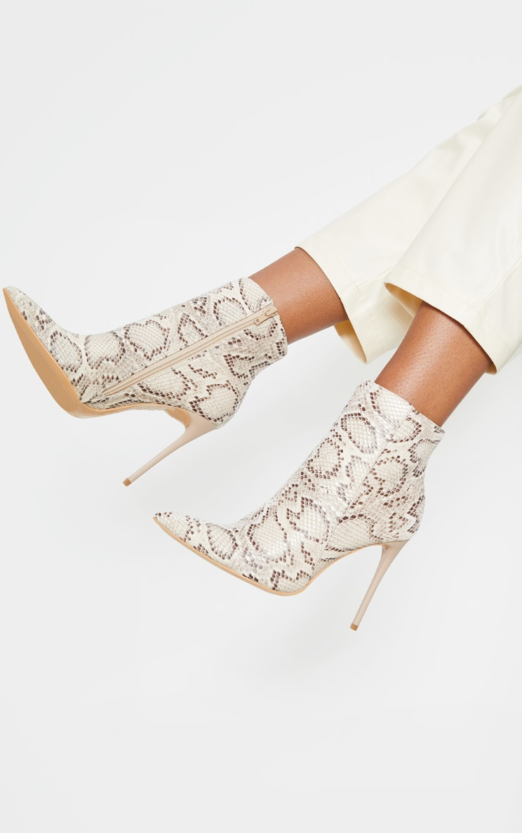 Beige Snake Point Toe Stiletto Heel Ankle Boot 2
