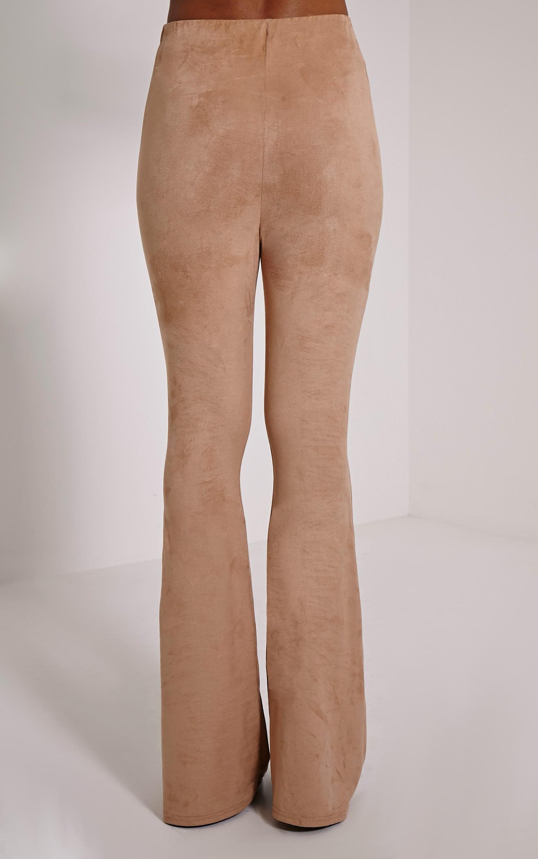 Sloan Dark Tan Faux Suede Flared Trousers 4