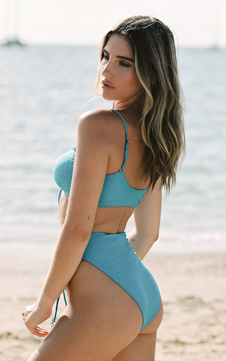 Bright Blue Ruched Middle Shell Trim Bikini Top 3