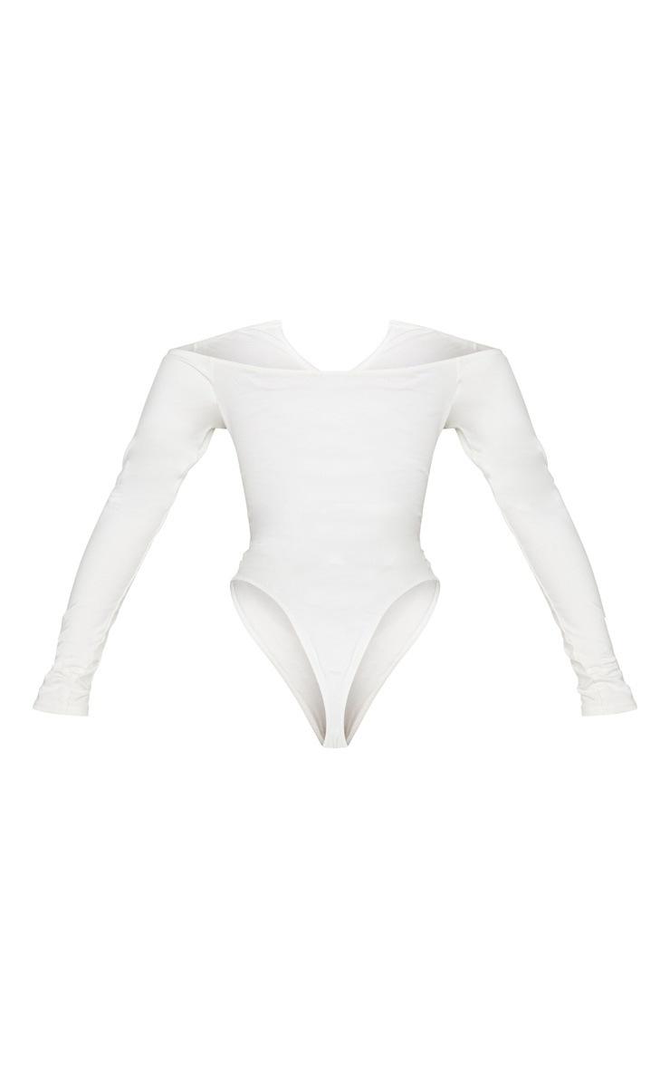 Shape Cream Bardot V Neck Bodysuit 4