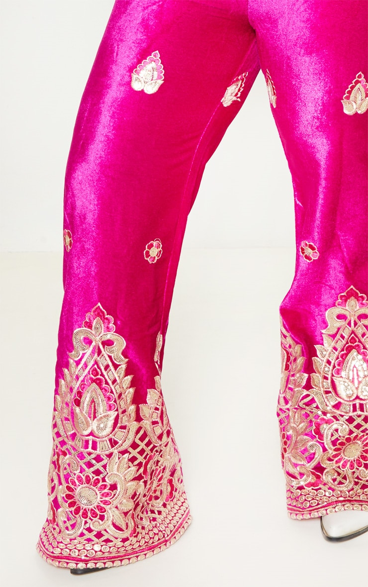 Plus Fuchsia Velvet Paisley Embroidered Flare Pants 6