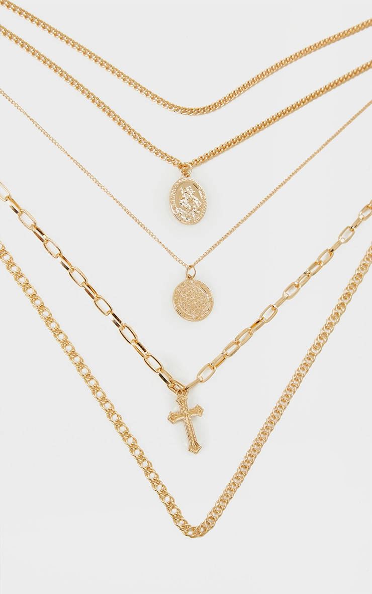 Gold Multi Coin And Cross Layering Necklace 4
