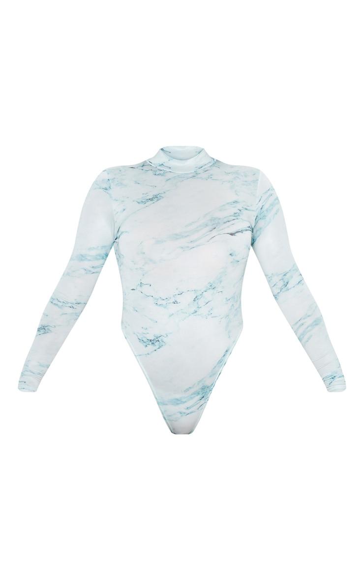 Green Marble Printed High Neck Bodysuit 3