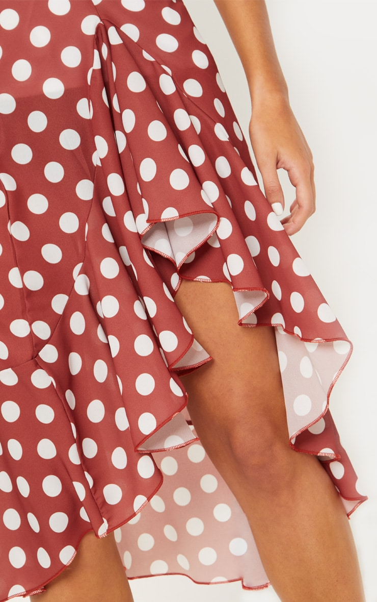 Spice Waterfall Frill Detail Polka Dot Skirt 4