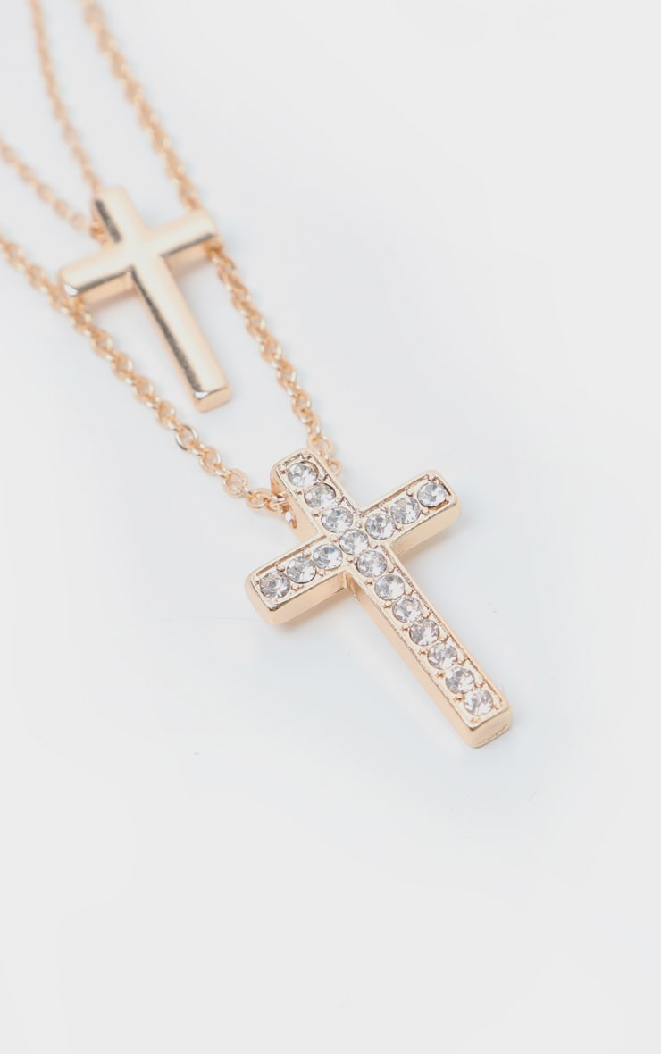 Gold Double Cross Layering Necklace 4