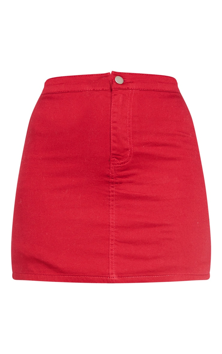 Burgundy Disco Fit Denim Skirt 3