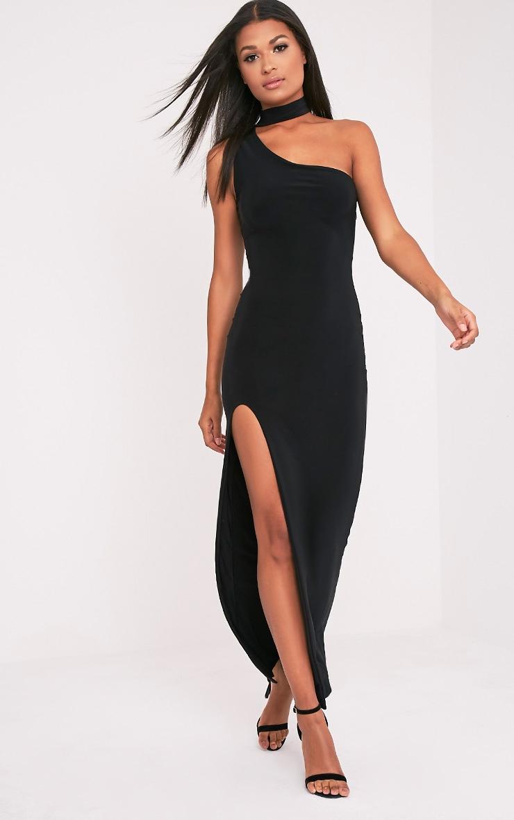 Jiya Black Slinky Choker Neck Maxi Dress 1