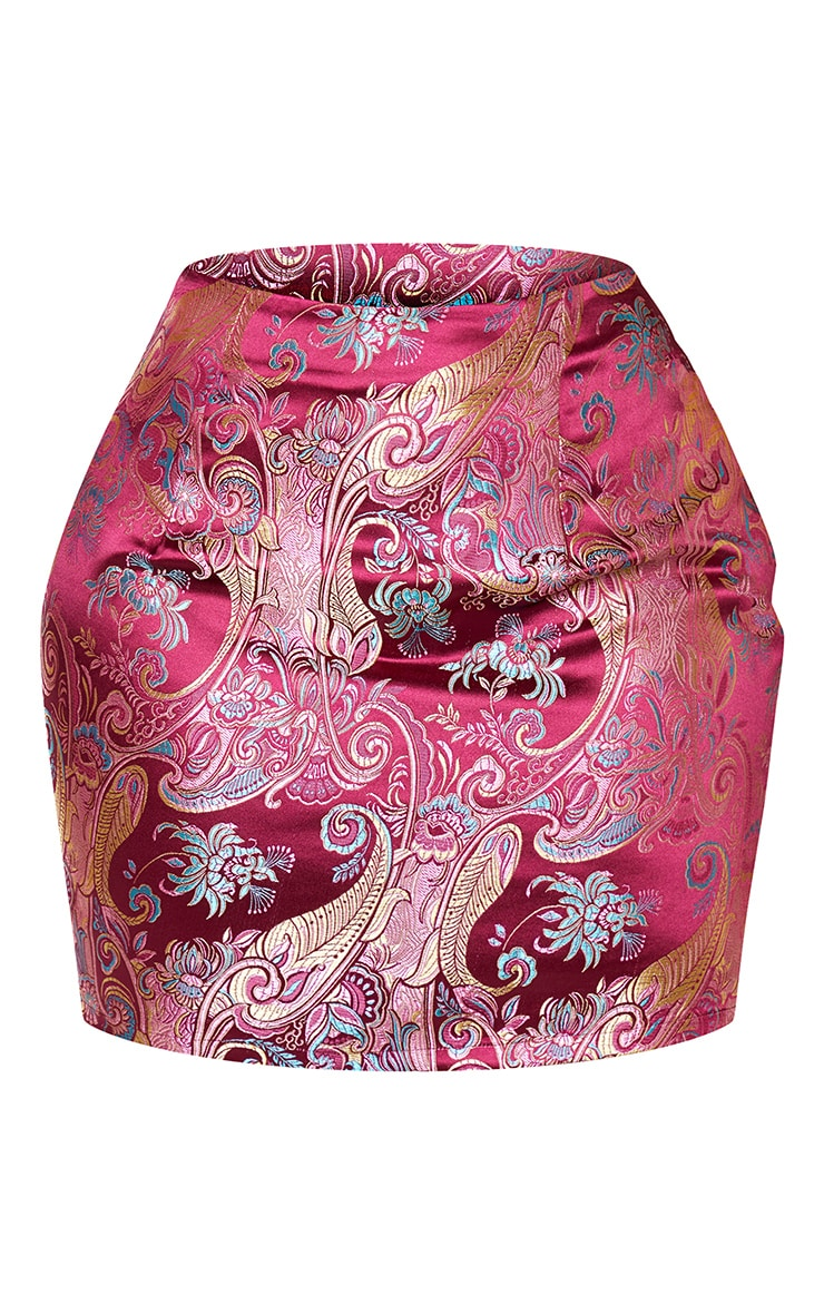 Shape Burgundy Oriental Bodycon Skirt 3
