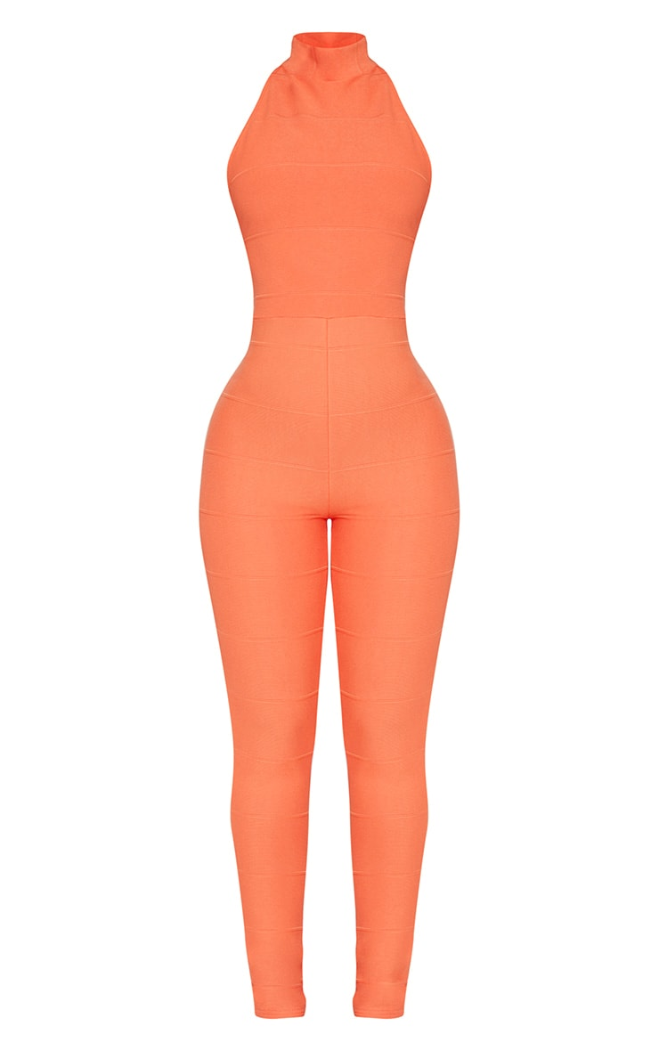 Shape Orange Bandage High Neck Jumpsuit 3