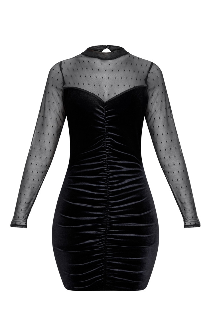 Black Velvet Dobby Mesh Bodice Long Sleeve Bodycon Dress 3