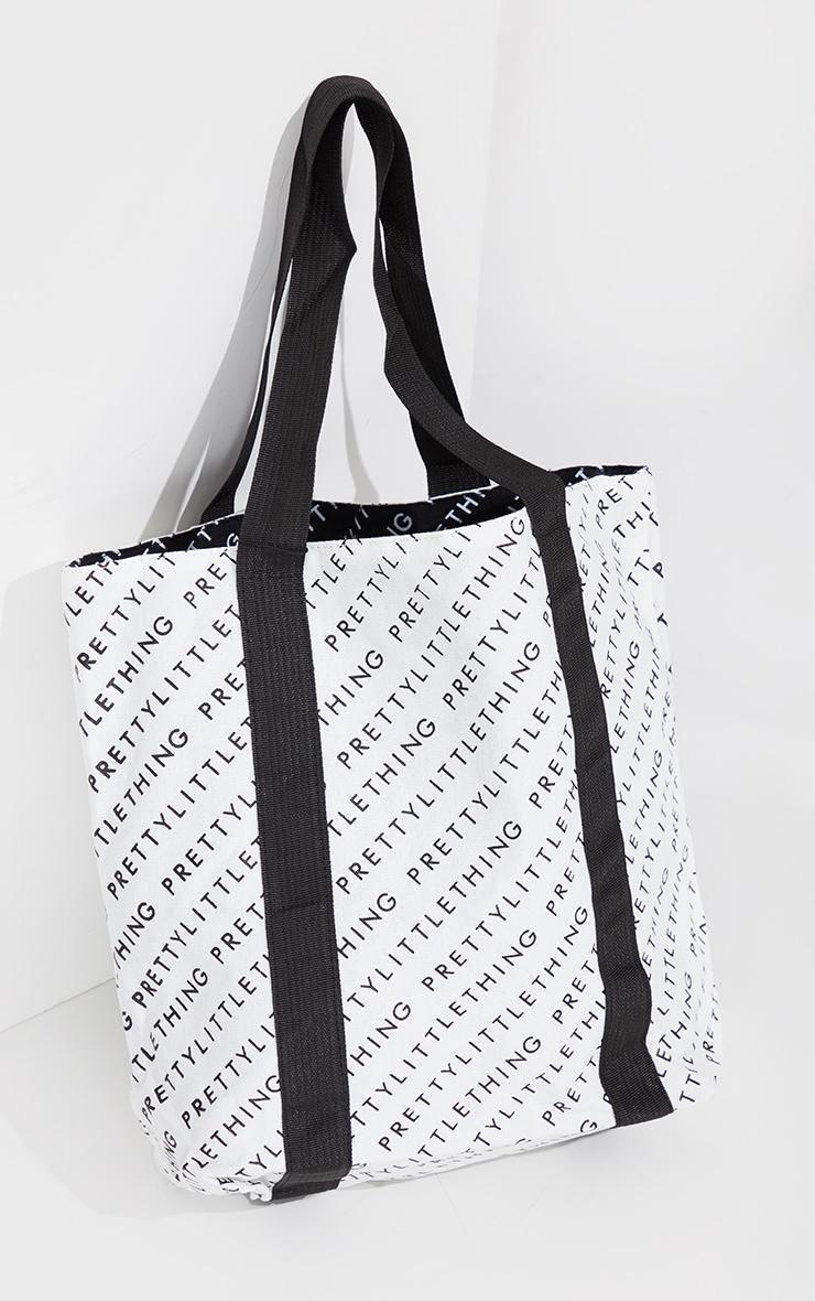 PRETTYLITTLETHING Black And White Reversible Shopper Bag 2