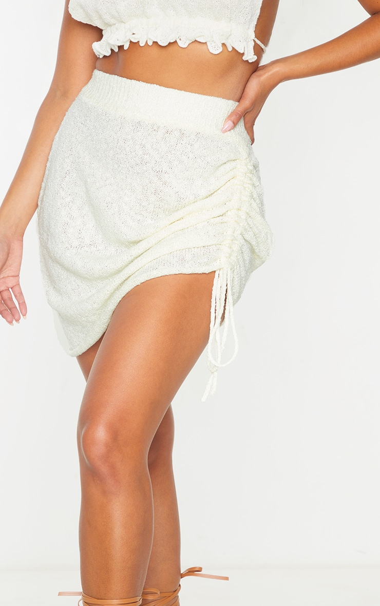 White Ruched Tie Front Knit Mini Skirt 5