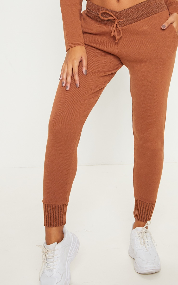Rust Cropped Hooded Knitted Lounge Set 6