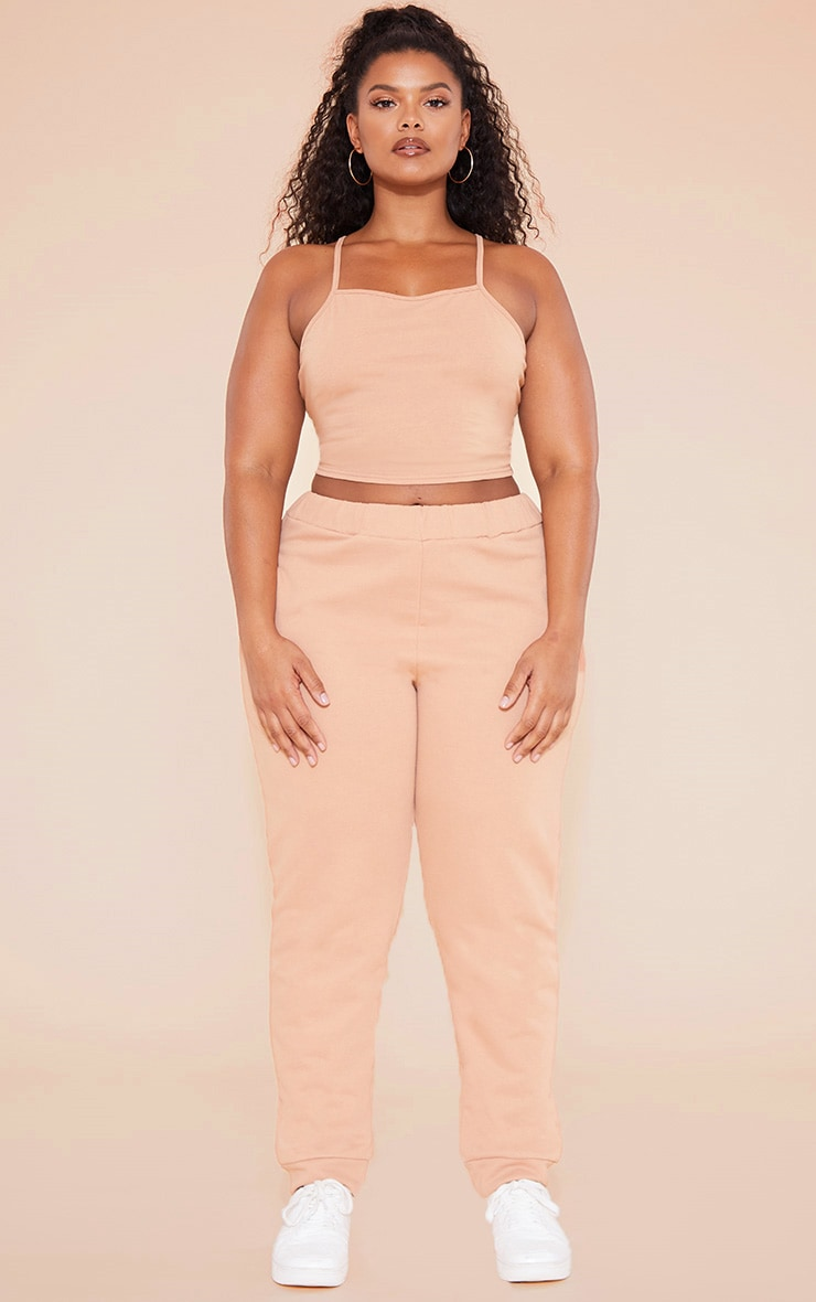 RECYCLED Plus Pale Tan 90s Neck Strappy Crop Top 4