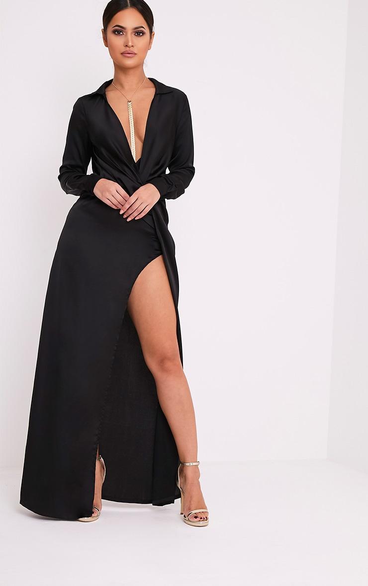 Alyssia robe chemise maxi noire à devant torsadé 1
