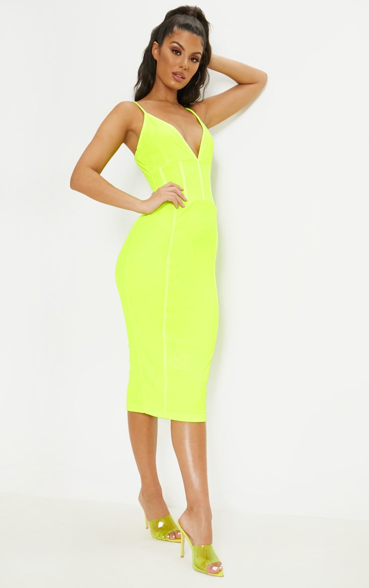 Neon LimeBinding Midi Dress 4