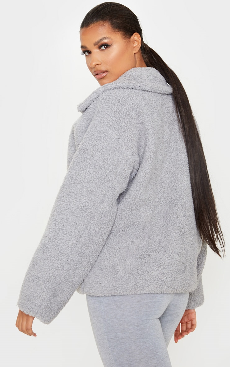 Grey Borg Zip Up Oversized Jacket 2