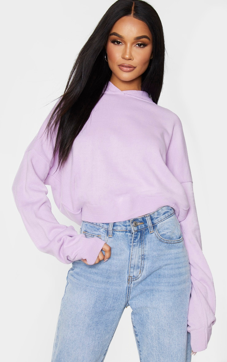 Lilac Knitted Oversized Hoodie 1