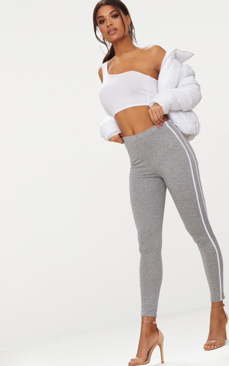 Grey Ultimate Contrast Stripe Leggings  1