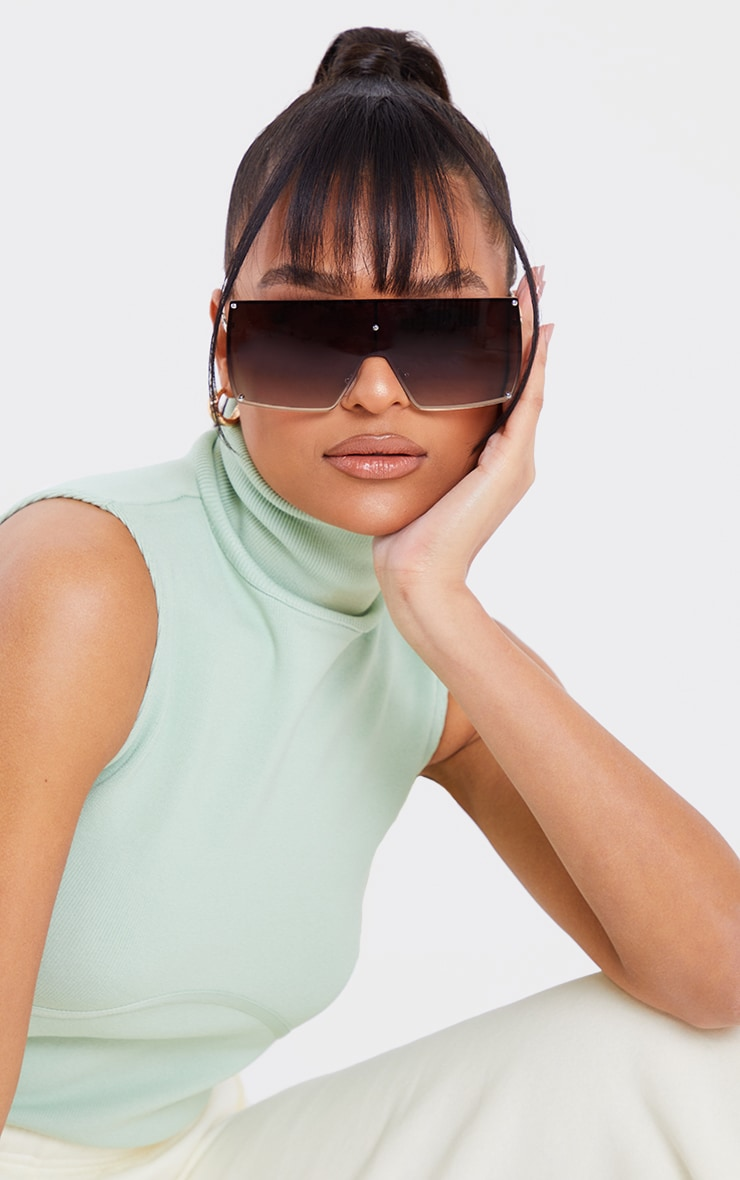 Brown Ombre Oversized Square Frame Sunglasses 1