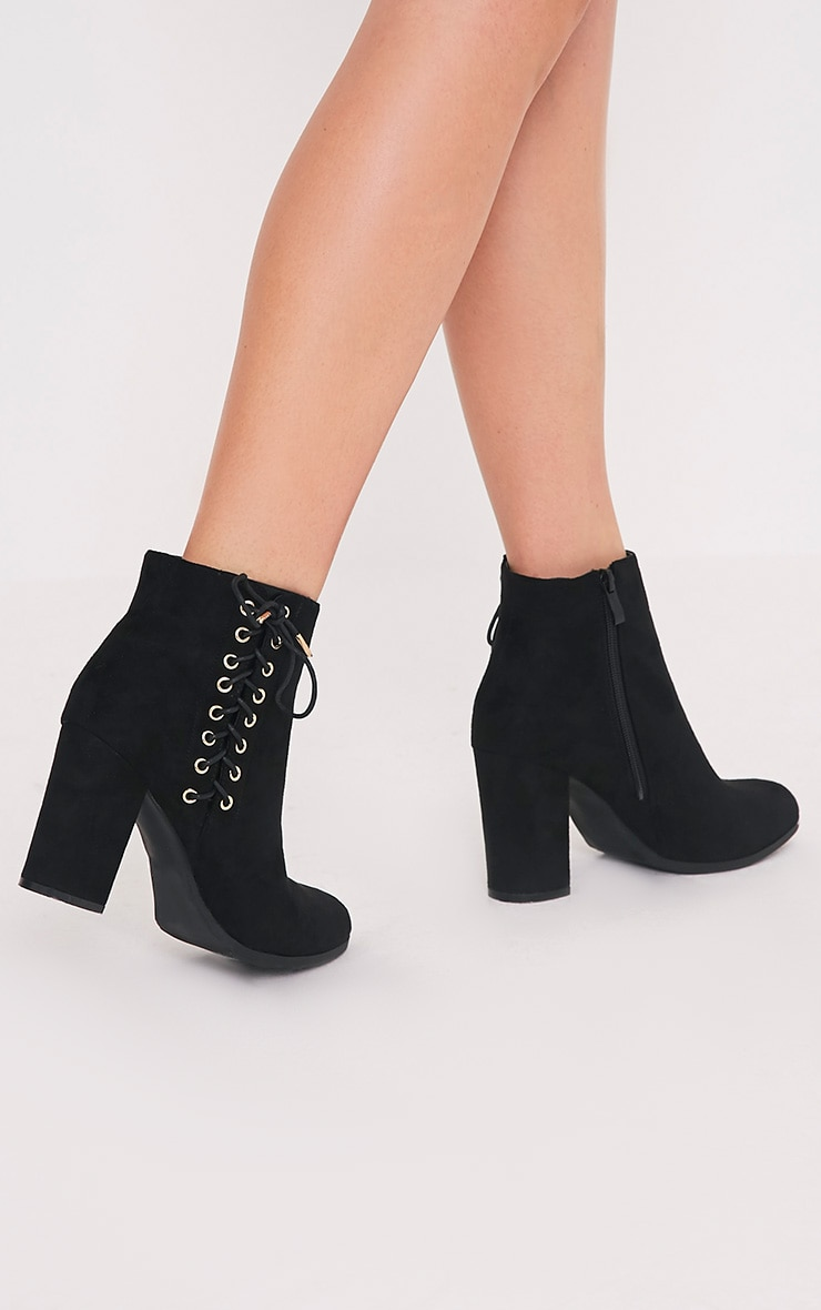 Honor Black Lace Up Side Heeled Ankle Boots 2